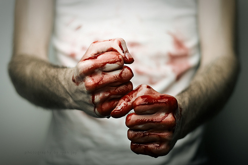 bloody fists