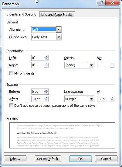 Vero Formatting - Paragraph Formatting